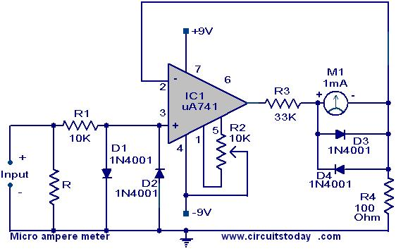 Micro  ere Meter Circuit Using Ua 741 on millivolt meter schematic