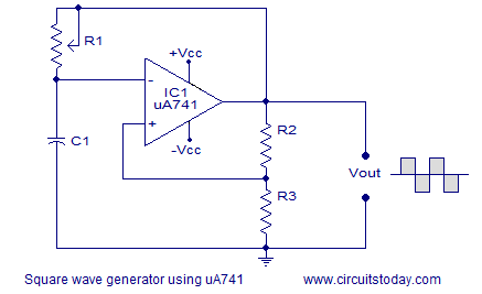 uA741 square wave generator