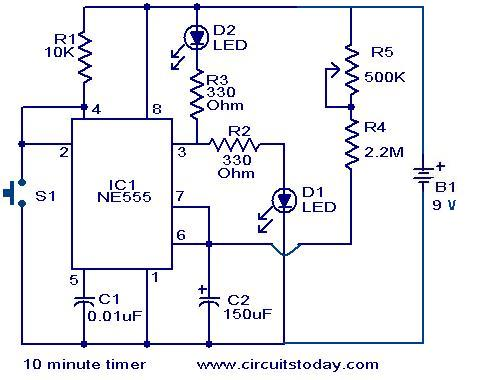 10 minute timer circuit electronic circuits and diagrams rh circuitstoday com long duration timer circuit schematics timing circuit schematic