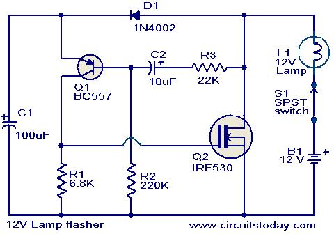 12v lamp flasher circuit electronic circuits and diagrams rh circuitstoday com 12 Volt Flasher Circuit Diagram 12 Volt Flasher Circuit Diagram