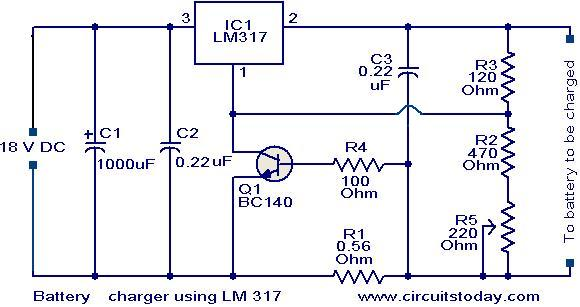 battery charger circuit using lm317 electronic circuits and