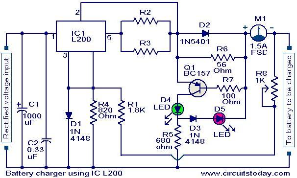 battery charger circuit using l200 electronic circuits and rh circuitstoday com