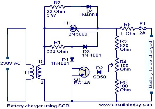 battery charger circuit using scr