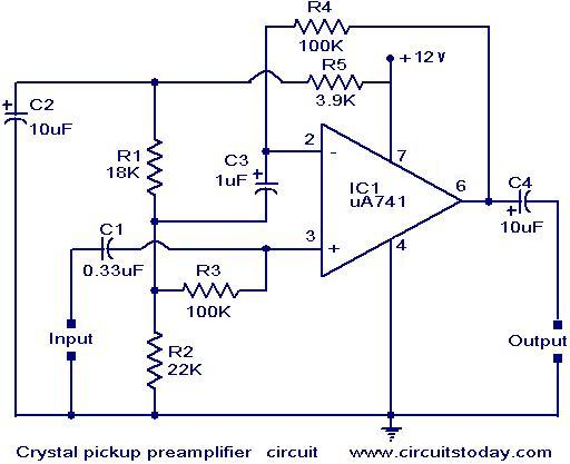crystal pickup pre amplifier circuit electronic circuits and rh circuitstoday com audio preamp circuit diagram audio preamp circuit diagram
