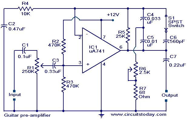 Guitar pre-amplifier using uA 741. - Electronic Circuits and ...