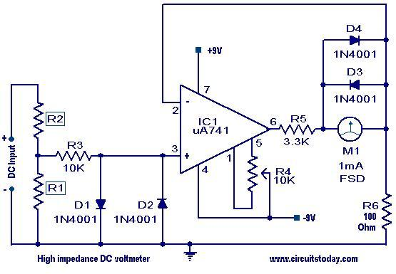 high impedance dc voltmeter circuit diagram of digital dc voltmeter circuit and schematics wiring diagram for voltmeter at nearapp.co