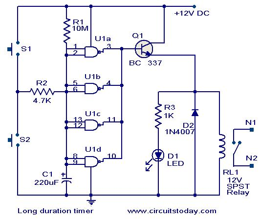 long duration timer circuit electronic circuits and diagrams rh circuitstoday com Electronic Hobby Circuits Schematics Electronic Siren Circuit
