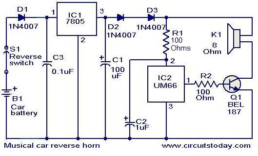 musical car reverse horn circuit electronic circuits and diagrams rh circuitstoday com electronic hooter circuit diagram pdf Electronic Circuit Animation