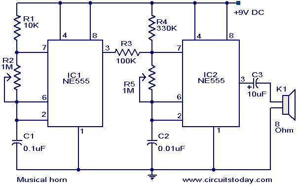 3 wire horn schematic electronic horn schematic musical horn circuit. - electronic circuits and diagrams-electronic projects and design #3