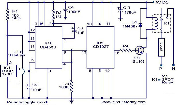 remote toggle switch circuit electronic circuits and diagrams rh circuitstoday com Toggle Switch Wiring Diagram 6 pin toggle switch circuit diagram