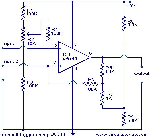 Schmitt trigger circuit using IC uA 741