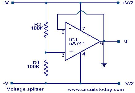Voltage Splitter using op-amp uA741 IC, circuit diagram, working