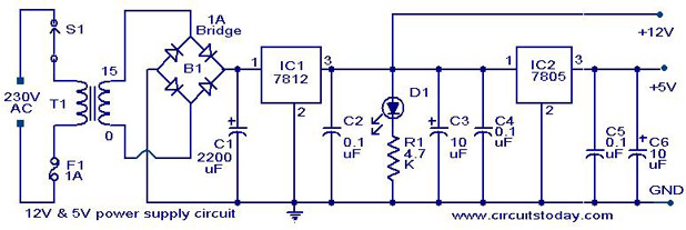 12V 5V Combo power supply Electronic Circuits and Diagrams