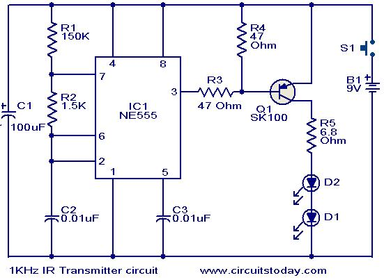 Phenomenal 1Khz Ir Transmitter Circuit Electronic Circuits And Diagrams Wiring 101 Vieworaxxcnl