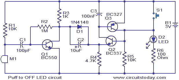 Puff to OFF LED circuit. - Electronic Circuits and Diagrams ...