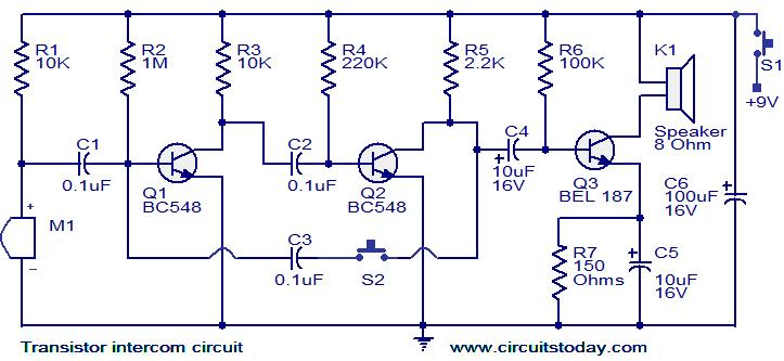 transistor intercom circuit electronic circuits and diagrams rh circuitstoday com electronic projects circuit diagrams explanation electronic projects circuit diagrams explanation