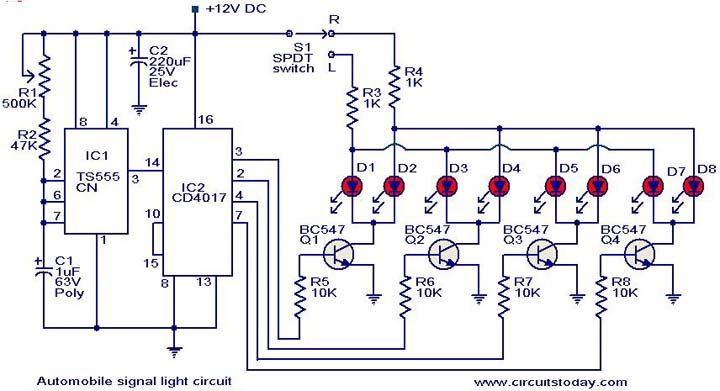 Automobile turn signal circuit. - Electronic Circuits and Diagrams ...