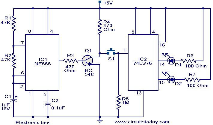 electronic toss circuit circuit diagrams of electronics projects circuit and schematics electronic circuit diagrams at gsmx.co