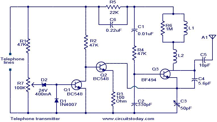 telephone transmitter electronic circuits and diagrams electronic rh circuitstoday com Circuit Diagram Symbols AC Circuit Diagram