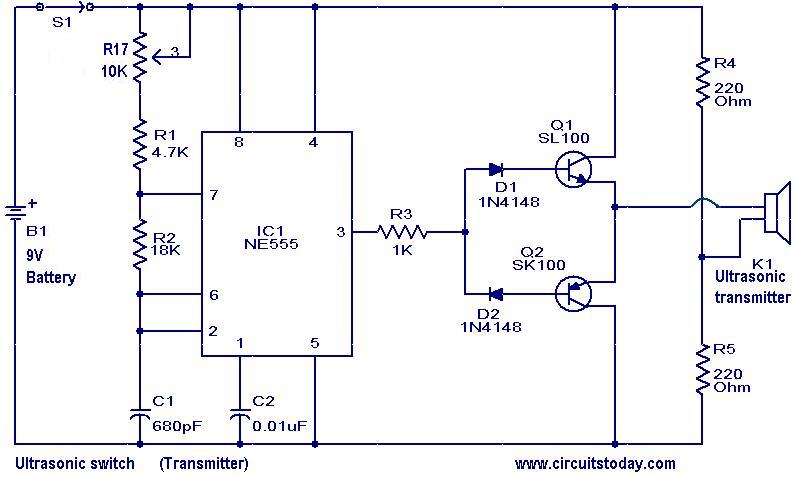 ultrasonic switch electronic circuits and diagrams electronic rh circuitstoday com Boat Transducer Diagram Transducer Block Diagram