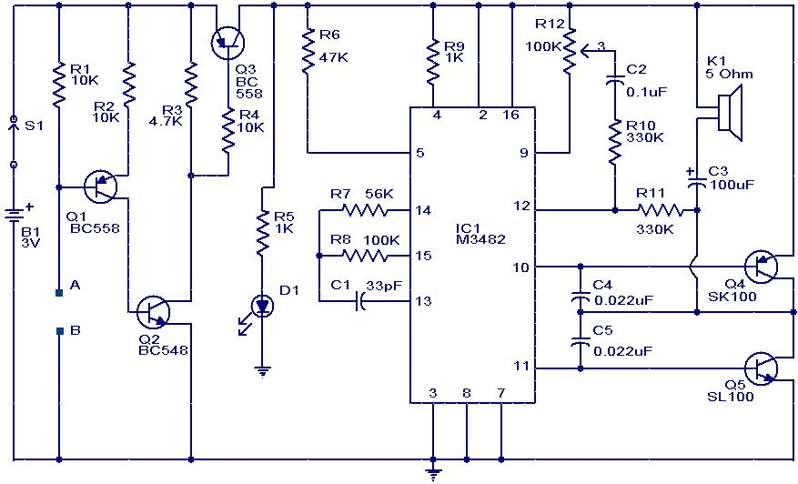 Liquid or Water Sensor Circuit with Alarm