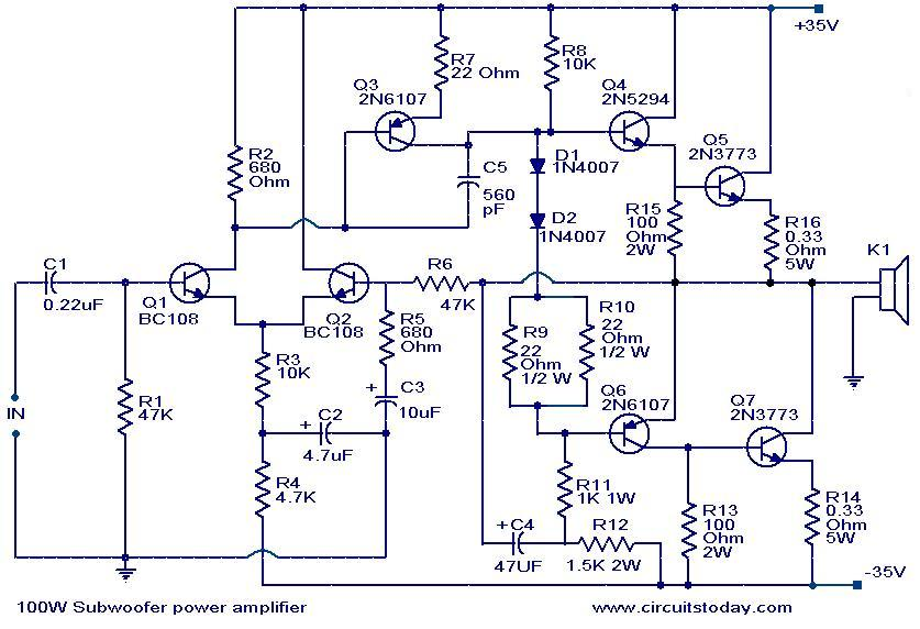 100 watt sub woofer amplifier working and circuit diagram rh circuitstoday com Sub and Amp Wiring Diagram Klipsch Subwoofer Wiring Diagram