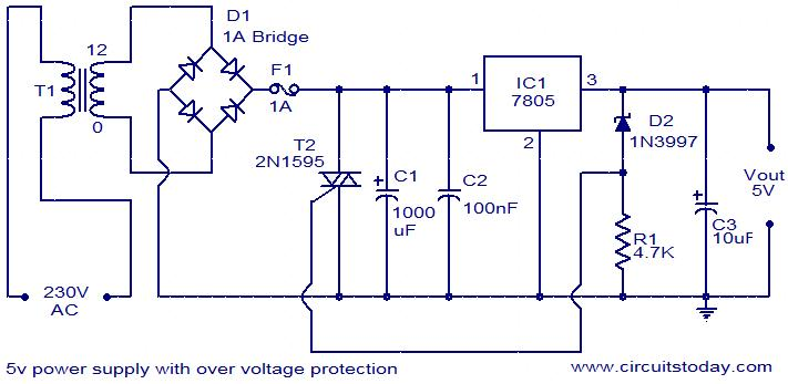 5v power supply with overvoltage protection electronic circuits rh circuitstoday com 5v power supply circuit diagram using 7805 circuit diagram 5v dc supply