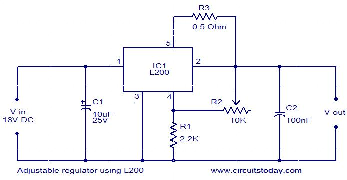 adjustable regulator using l200 - electronic circuits and diagram, Wiring circuit