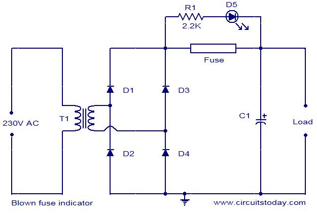 blown fuse indicator circuit electronic circuits and diagrams rh circuitstoday com fuse in a electric circuit fuse function in a circuit