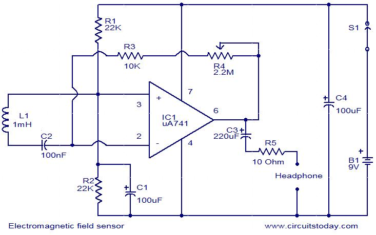 electromagnetic field sensor circuit electromagnetic field sensor circuit electronic circuits and electromagnet wiring diagram at crackthecode.co