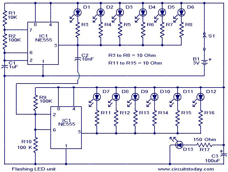 flashing led unit circuit flashing led unit electronic circuits and diagram electronics led circuit diagrams at gsmportal.co