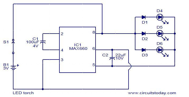 led torch using max660 electronic circuits and diagrams electronic rh circuitstoday com led tv block diagram led tv block diagram with explanation