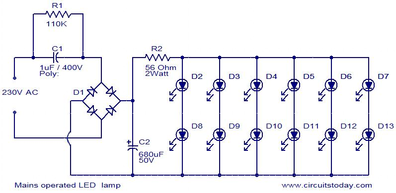 mains operated led lamp electronic circuits and diagrams rh circuitstoday com led bulbs circuits diagrams led circuits schematics