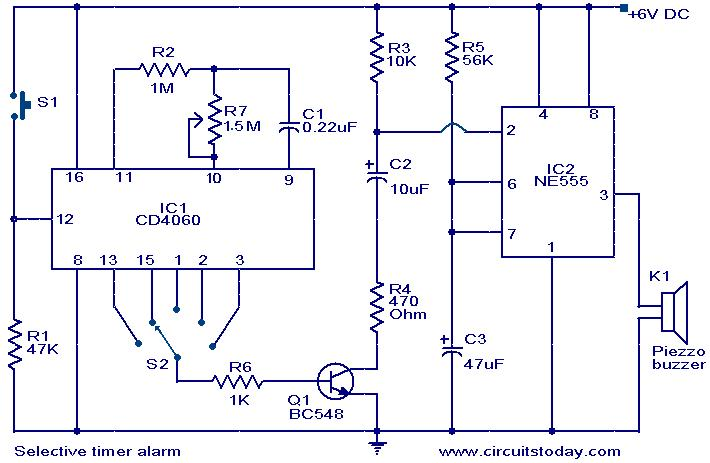 selective timer alarm electronic circuits and diagrams electronicselective timer alarm circuit