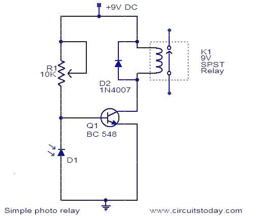 Photo Relay Circuit - Working and Circuit Diagram with Parts List | Relay Schematic Diagram |  | CircuitsToday