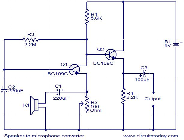 speaker to microphone converter circuit electronic circuits and rh circuitstoday com mic preamp circuit diagram mic preamp circuit diagram