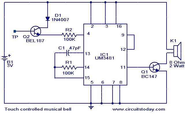 touch controlled musical bell electronic circuits and diagramstouch controlled musical bell circuit