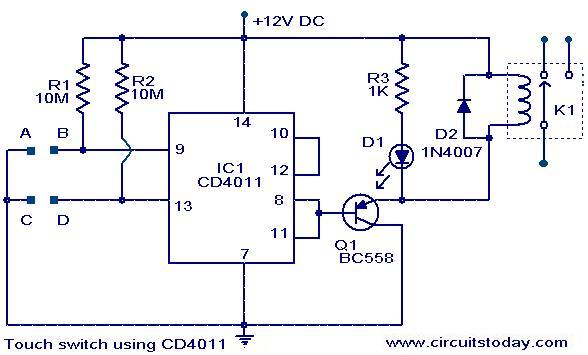 touch-switch-circuit-using-cd4011