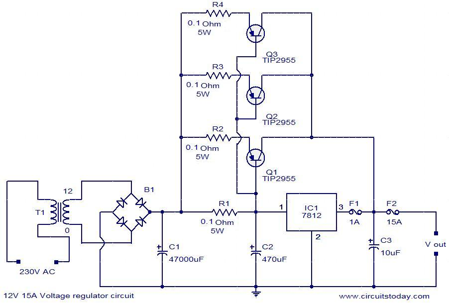 v a voltage regulator electronic circuits and diagram 12v 15a voltage regulator circuit