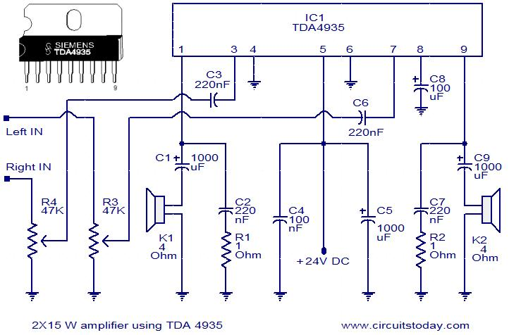 2x15 watt stereo amplifier using tda4935 electronic circuits and rh circuitstoday com stk4141 stereo amplifier circuit diagram stk4141 stereo amplifier circuit diagram