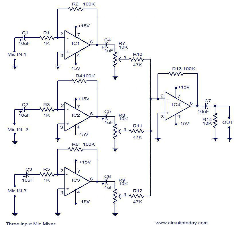 3 input mic mixer circuit electronic circuits and diagrams rh circuitstoday com microphone mixer circuit diagram mixer grinder circuit diagram