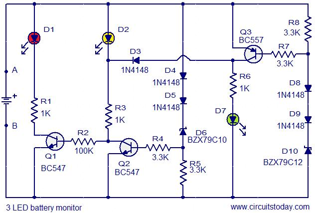 3 led battery monitor circuit electronic circuits and diagram 3 led battery monitor circuit