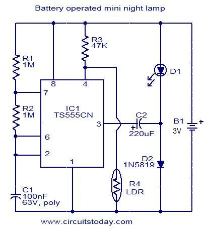 battery operated mini night lamp circuit