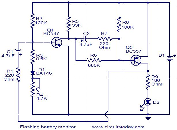 Flashing Battery Monitor Electronic Circuits And Diagrams