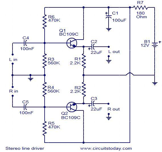 Stereo Line Driver Circuit Electronic Circuits And