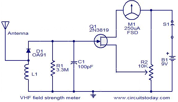 vhf field strength meter electronic circuits and diagrams rh circuitstoday com simple field strength meter schematic simple field strength meter schematic