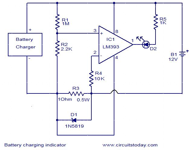 Battery charging indicator circuit | Battery Warning Light Wiring Diagram For |  | CircuitsToday
