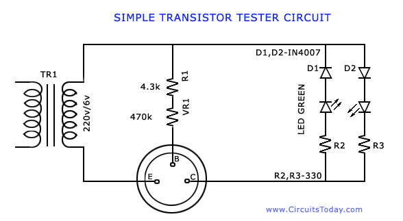 transistor tester to test hfe and working of npn and pnp transistors rh circuitstoday com fet transistor tester circuit diagram transistor tester circuit diagram