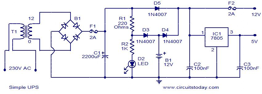 simple ups   electronic circuits and diagram electronics projects    simple ups circuit