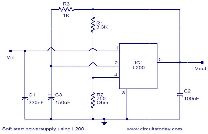 soft-start-power-supply-using-l200